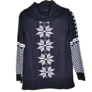Talbots Turtleneck-Size M-Snowflake design-NWT